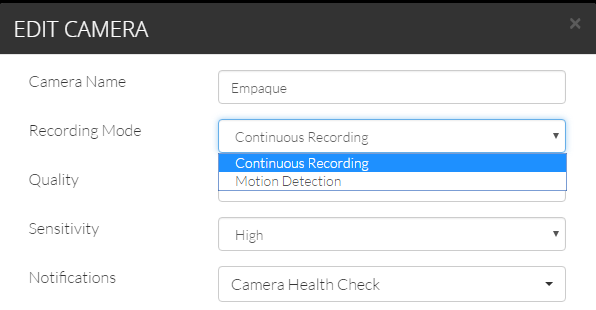 Continuous Recording Settings